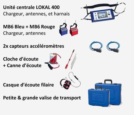 Pack 4 unité centrale Lokal 400 avec capteurs cloche d'écoute et accessoires